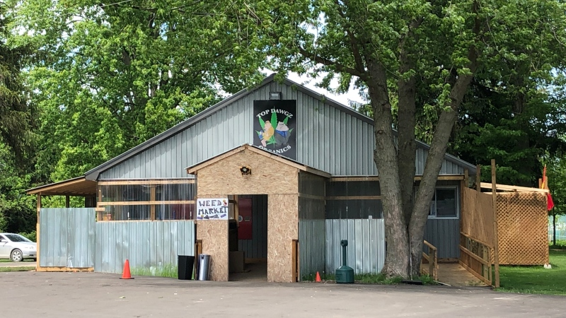 Top Dog Organics in Middlesex Centre, Ont., which allegedly sold illegal cannabis, is seen on Thursday, June 4, 2020. (Jim Knight / CTV London)