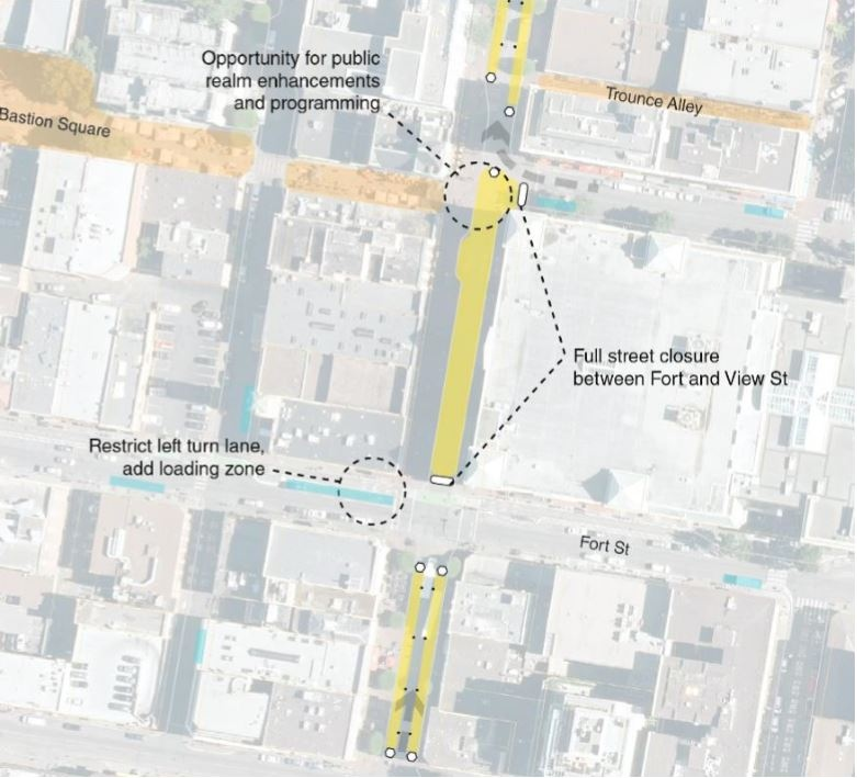 The City of Victoria is proposing closing one block of Government Street to traffic to benefit pedestrian and business use: (City of Victoria)