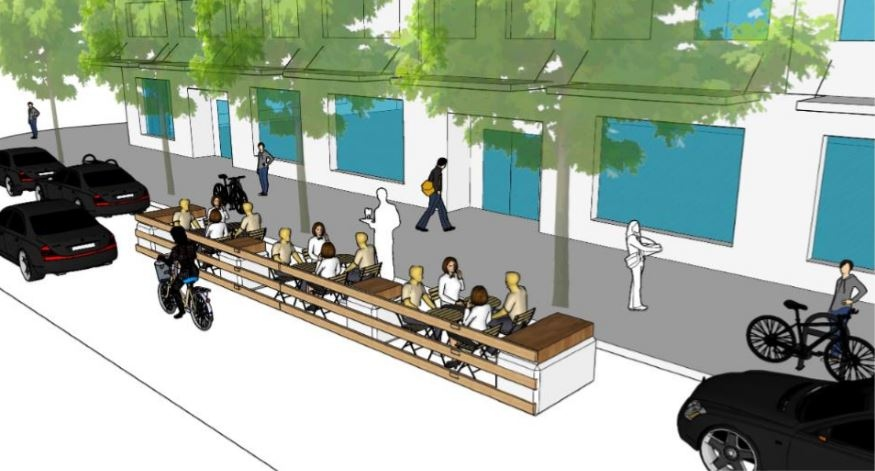 An example of what on-street parking converted into a patio area could look like: (City of Victoria)