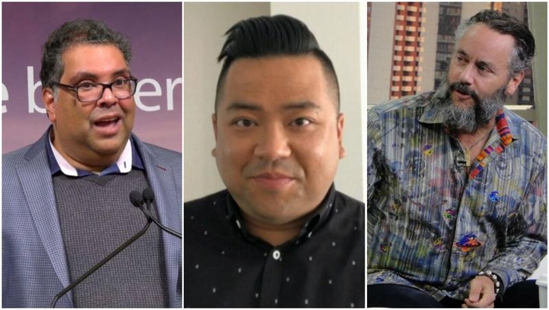 Mayor Naheed Nenshi, Andrew Phung and W. Brett Wilson.