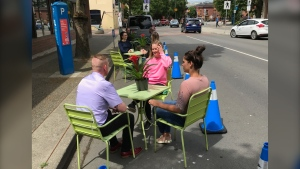 A parking spot that has been converted to a patio in downtown Victoria is shown: (CTV News)