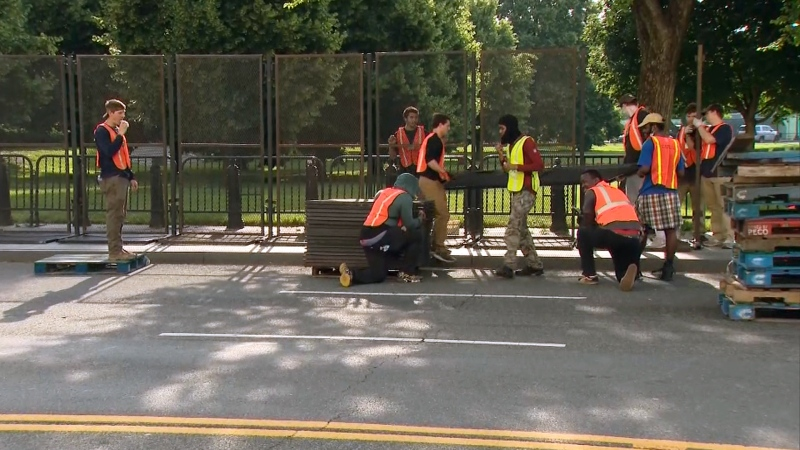 Metal fencing installed at the White House