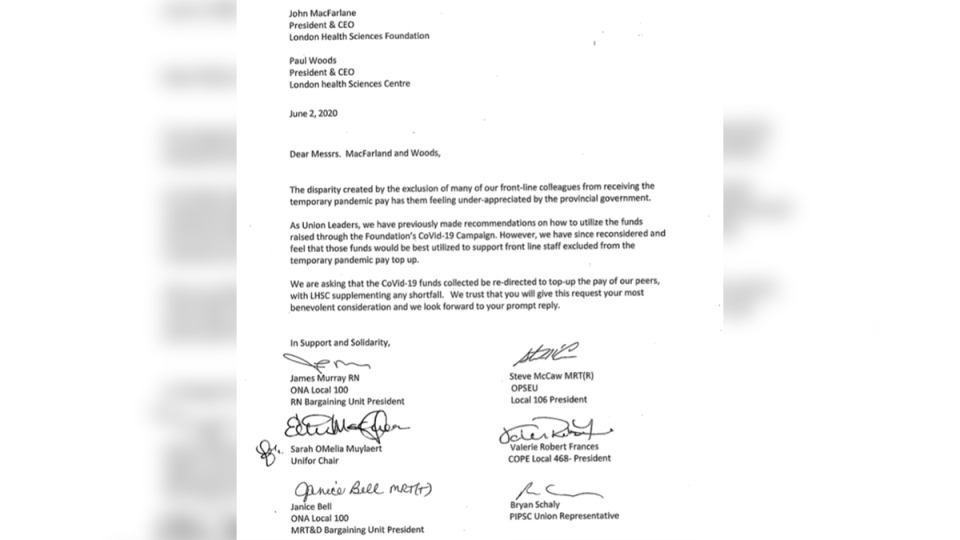 Letter from unions