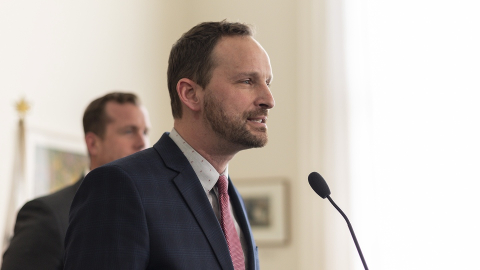 Opposition NDP Leader Ryan Meili speaks during a morning press conference at the legislature in Regina on March 20, 2019. THE CANADIAN PRESS/Michael Bell