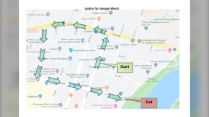 The route planned for a rally in Saskatoon on June 4, 2020. (Saskatoon Police Service)