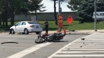 A motorcyclist has been injured after a crash at University Avenue and King Street in Waterloo. (Tegan Versolatto/CTV Kitchener) (June 4, 2020)