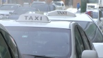 Taxi cabs can be seen lined up in Winnipeg.