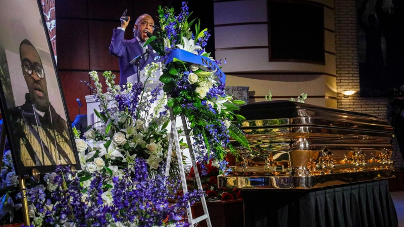 Civil rights activist Rev. Al Sharpton delivers the eulogy at the funeral of George Floyd at North Central University, Thursday, June 4, 2020, in Minneapolis. Floyd died on May 25 as a Minneapolis police officer pressed his knee into his neck, ignoring his cries and bystander shouts until he eventually stopped moving. (AP / Bebeto Matthews)