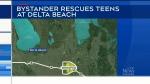 Bystander hailed as hero in beach rescue