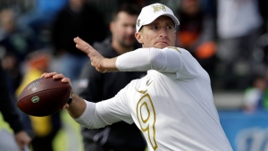NFC quarterback Drew Brees, of the New Orleans Saints, throws a pass during a practice for the NFL Pro Bowl football game Wednesday, Jan. 22, 2020, in Kissimmee, Fla. (AP / Chris O'Meara)