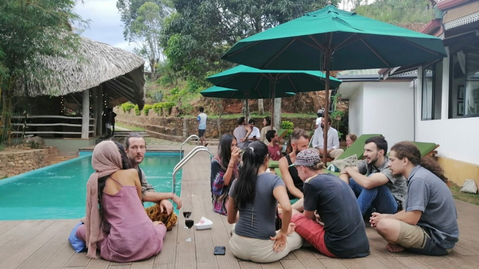 In this April, 2020, photo, stranded tourists rest at the Cafe Chill in Ella, a tourist hot spot about 200 kilometers (120 miles) east of the capital Colombo, Sri Lanka. (Cafe Chill via AP)