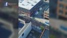 crane view of protest
