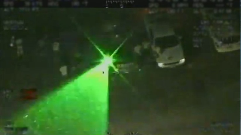 U.S. Customs officials say a Great Lakes Air and Marine crew detected their aircraft was being targeted by a green laser on Wednesday, June 3, 2020. (Courtesy U.S. Customs and Border Protection)