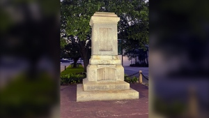 The pedestal where the statue of Admiral Raphael Semmes stands empty, on June 5, 2020 in Mobile, Ala. (WMPI-TV via AP)
