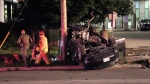 Two people were taken to hospital after a car flipped over and crashed into a utility pole on June 5, 2020.