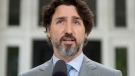 Prime Minister Justin Trudeau speaks during a news conference outside Rideau cottage in Ottawa, Thursday June 4, 2020. THE CANADIAN PRESS/Adrian Wyld