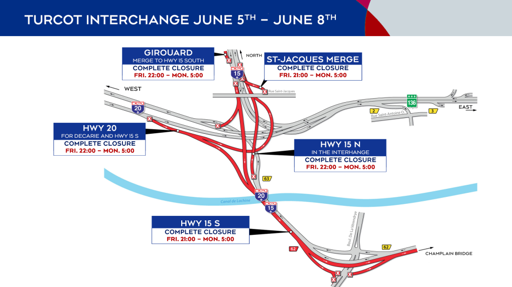 Turcot Interchange closings for the weekend