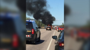 Fiery crash on Hwy 17 near North Bay Jun 4/20 (OPP)