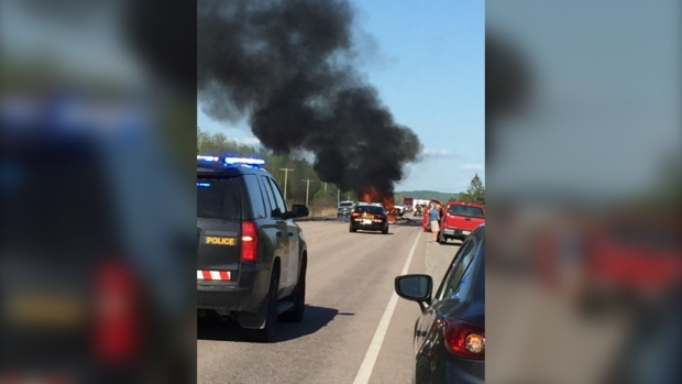 Fiery crash on Hwy 17 near North Bay Jun 4/20 (OPP)