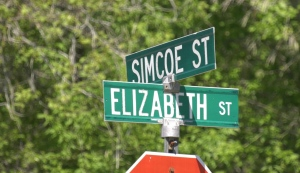 A child was struck while riding his bicycle on Thurs., June 4, 2020, in the area of Elizabeth Street and Simcoe Street in Angus, Ont. (Roger Klein/CTV News)