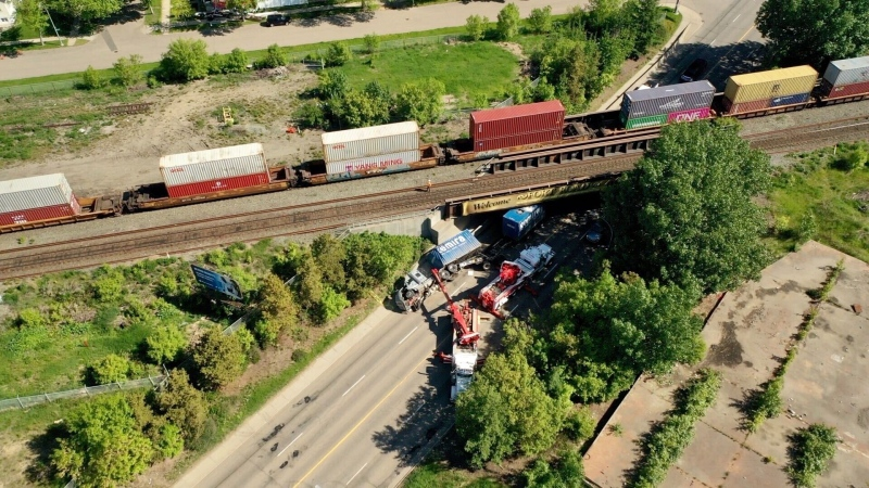 Fort Road between 66 Street and Yellowhead Trail was closed in both directions June 5, 2020, after a semi crashed into the CN railway bridge in the area.