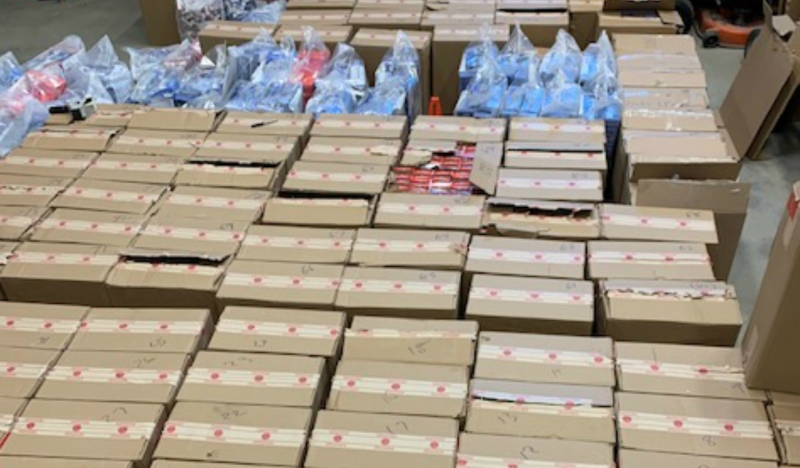 The Ontario Provincial Police released this photo last month of some of the more than 8,000 cartons they seized near Blind River. (File)