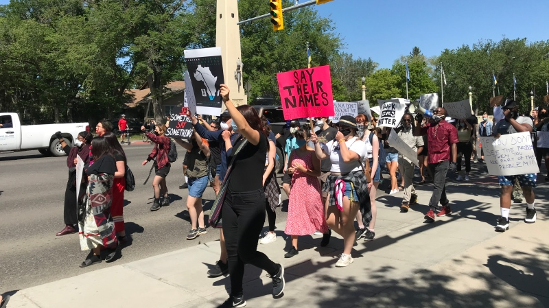 Protestors march down Albert Street in Regina, Sask. on Friday. June 5, 2020. (Cally Stephanow / CTV News Regina)