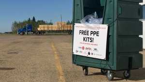 Free PPE kits from the Alberta Motor Transport Association were made available to truckers at the weigh scale south of Leduc on June 5.