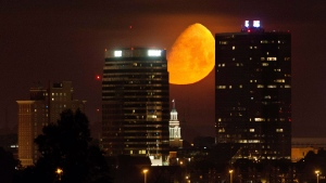 A waxing gibbous moon sets over the downtown skyline of Knoxville, Tenn., early Saturday, June 3, 2017, leading up to the June 9 Strawberry Moon. The Strawberry Moon, also referred to as a minimoon, is this year's smallest full moon orbiting some 250,000 miles away from Earth. (Calvin Mattheis/Knoxville News Sentinel via AP)