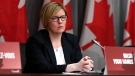 Minister of Employment, Workforce Development and Disability Inclusion Carla Qualtrough listens during a press conference on COVID-19 at West Block on Parliament Hill in Ottawa, on Wednesday, March 25, 2020. THE CANADIAN PRESS/Justin Tang