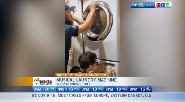 Morning smile, laundry machine