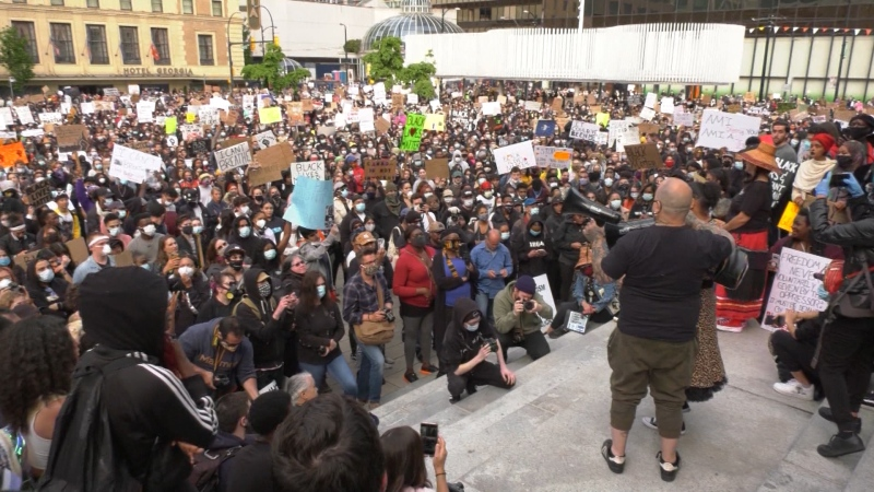 Thousands of people gathered for an anti-racism rally on May 31, 2020.