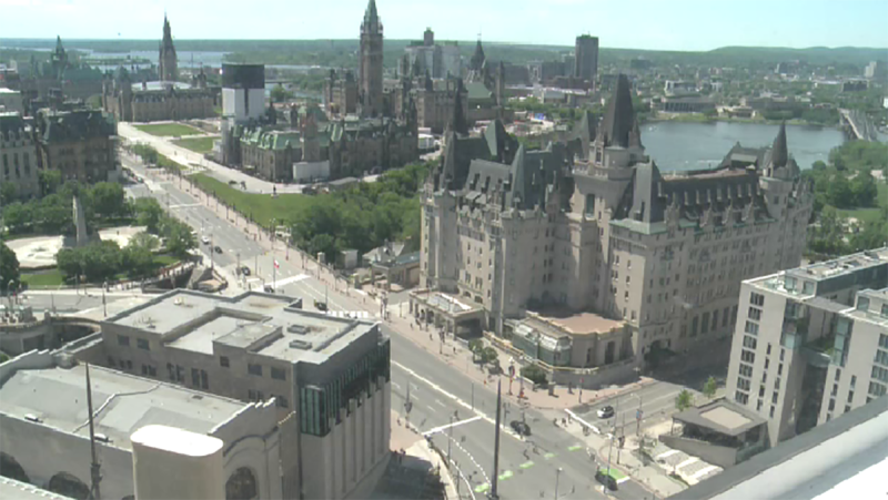 Downtown Ottawa ahead of the 'No Peace Until Justice' march as seen from the camera atop the Westin Hotel on Friday, June 5, 2020.