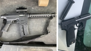 RCMP say they found a Mossberg Model 715T .22 calibre semi-automatic rifle and a replica handgun in the vehicle involved in the May 31 incident. (Photo provided.)