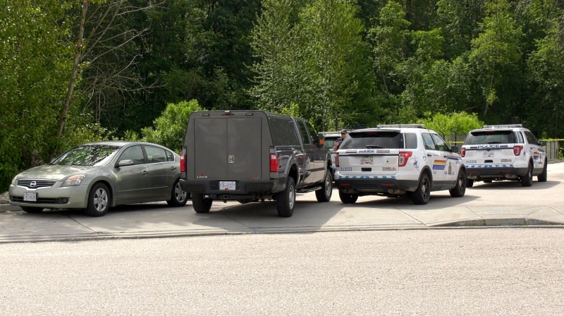 Police vehicles are pictured at the scene of an incident in Surrey, B.C., on Friday, June 5, 2020. (Jordan Jiang / CTV News Vancouver)