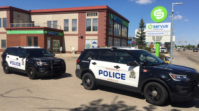 Edmonton police responded to the Servus Credit Union in the area of 113 Street and Kingsway Avenue after a man tested his new pellet gun behind the bank on Friday, June 5, 2020. (John Hanson/CTV News Edmonton)
