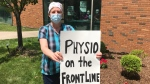 Physiotherapists are fighting for pandemic pay at a rally in Windsor, Ont., on Friday, June 5, 2020. (Michelle Maluske / CTV Windsor)