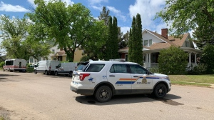 RCMP on the scene of a fatal house fire in North Battleford on June 5, 2020. (Nicole Di Donato)