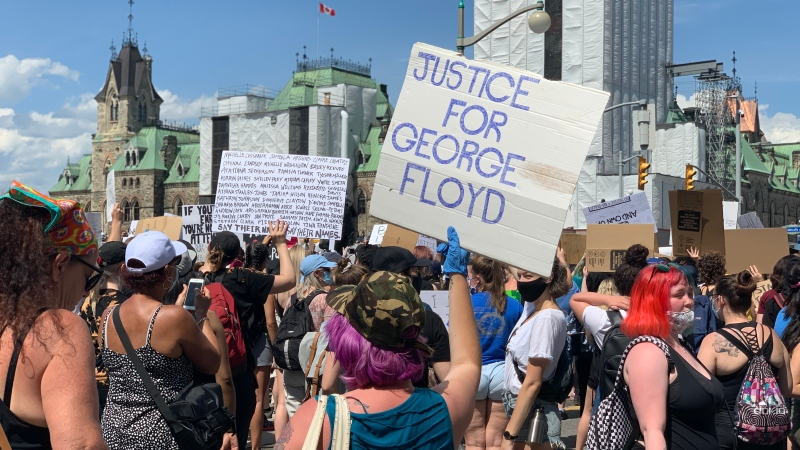 'No Peace Until Justice' march in downtown Ottawa on Friday, June 5, 2020. (Saron Fanel/CTV Ottawa)