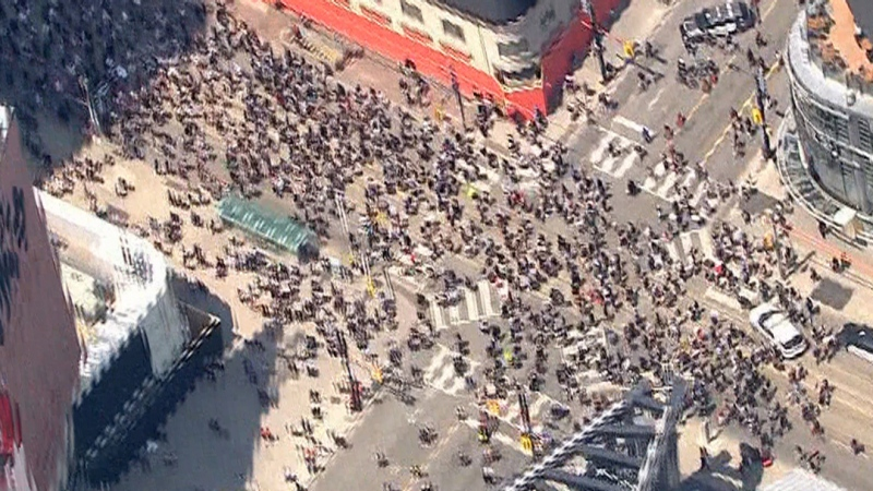 Aerial view of Toronto anti-racism march