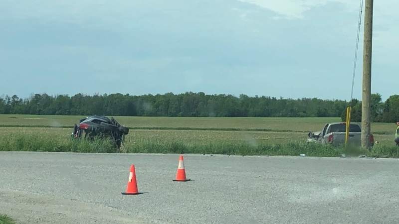 Two vehicles were involved in a fatal crash near Broadhagen, Ont. on Friday, June 5, 2020. (@OPP_WR / Twitter)