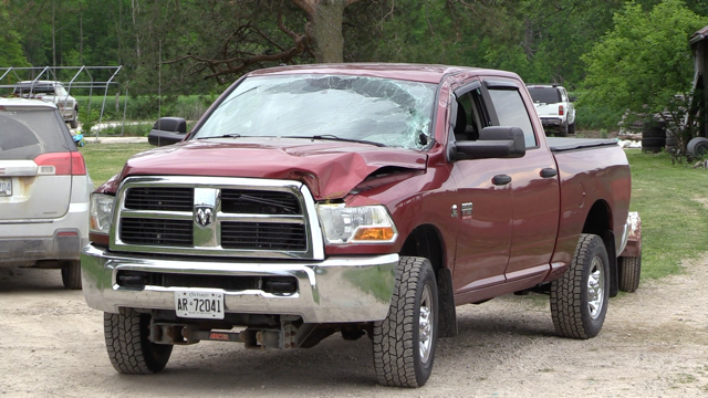 Damaged pickup near Clifford, Ont.