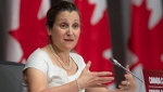 Deputy Prime Minister and Minister of Intergovernmental Affairs Chrystia Freeland speaks during a news conference, Friday, June 5, 2020 in Ottawa. THE CANADIAN PRESS/Adrian Wyld