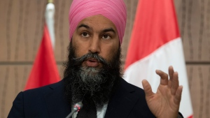 NDP leader Jagmeet Singh responds to question from the media during a news conference Wednesday June 3, 2020 in Ottawa. THE CANADIAN PRESS/Adrian Wyld