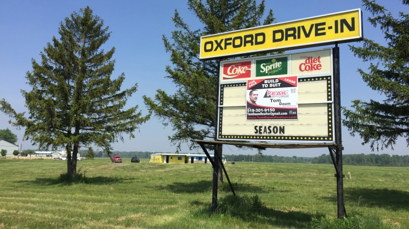 The sign for the Oxford Drive-In is seen in Oxford County, Ont. on Friday, June 5, 2020. (Bryan Bicknell / CTV London)