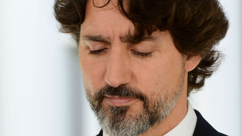 Prime Minister Justin Trudeau holds a press conference at Rideau Cottage during the COVID-19 pandemic in Ottawa on Friday, June 5, 2020. THE CANADIAN PRESS/Sean Kilpatrick