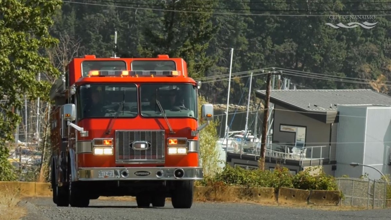 A Nanaimo firetruck is shown: (Nanaimo Fire and Rescue)