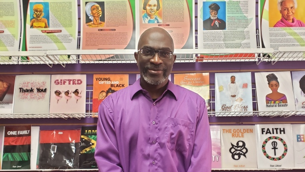 Sean Liburd is co-owner of Knowledge Bookstore in Brampton, Ont., an Afrocentric bookshop specializing in books about Black history and culture. According to publisher Rocky Mountain Books, Knowledge Bookstore is one of only two Black-owned and oriented bookstores in Canada. (Sean Liburd)