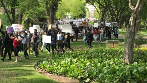 Hundreds of Edmontonians are gathering at the Alberta legislature Friday night to protest the death of George Floyd and racial inequalities. (Brandon Lynch/CTV News Edmonton)