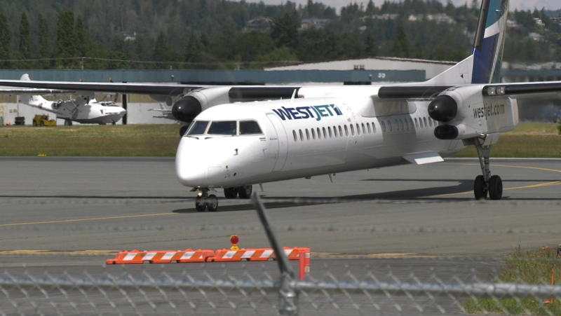 A WestJet flight at the Victoria International Airport on June 5, 2020. (CTV News)